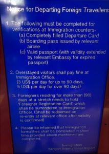 sign stating the rules about overstaying a Myanmar Visa