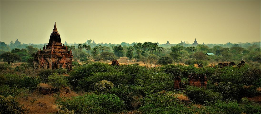 pagodas in Bagan with green landscape