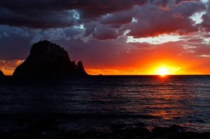 sunset view of Es Vedra island ibiza