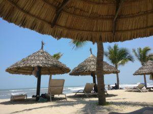 Blue sky and sun shade on Da Nang beach