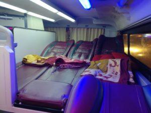 Three reclined sleeper seats