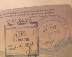 Myanmar visa stamps in passport