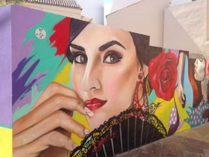 street art of flamenco dancer with a fan