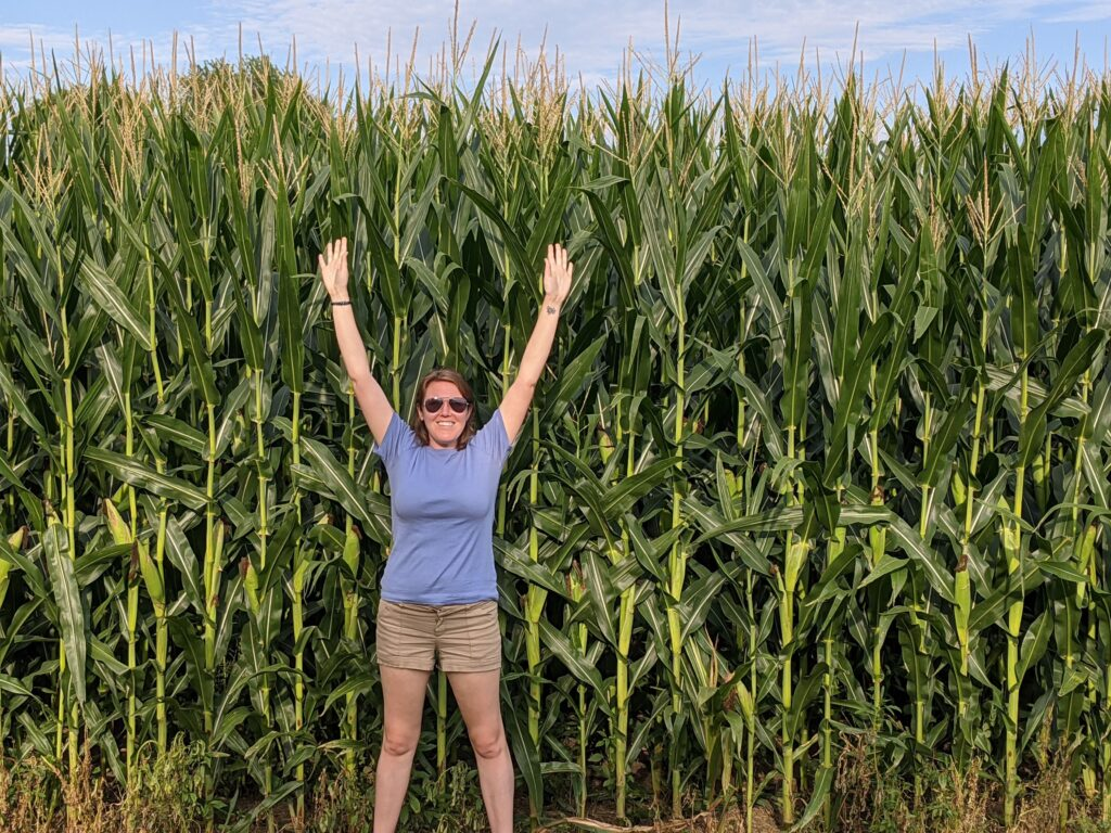 me standing next to some super tall corn stretching my arms to show I cannot reach the top!