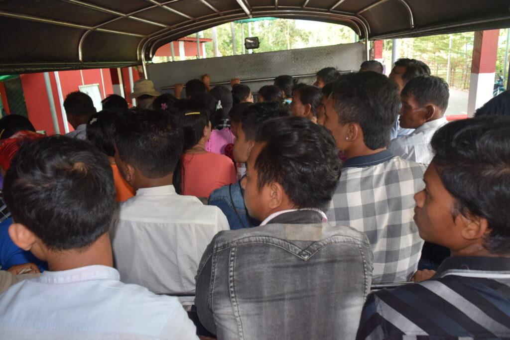on the truck to Kyaiktiyo Pagoda on Thadingyut