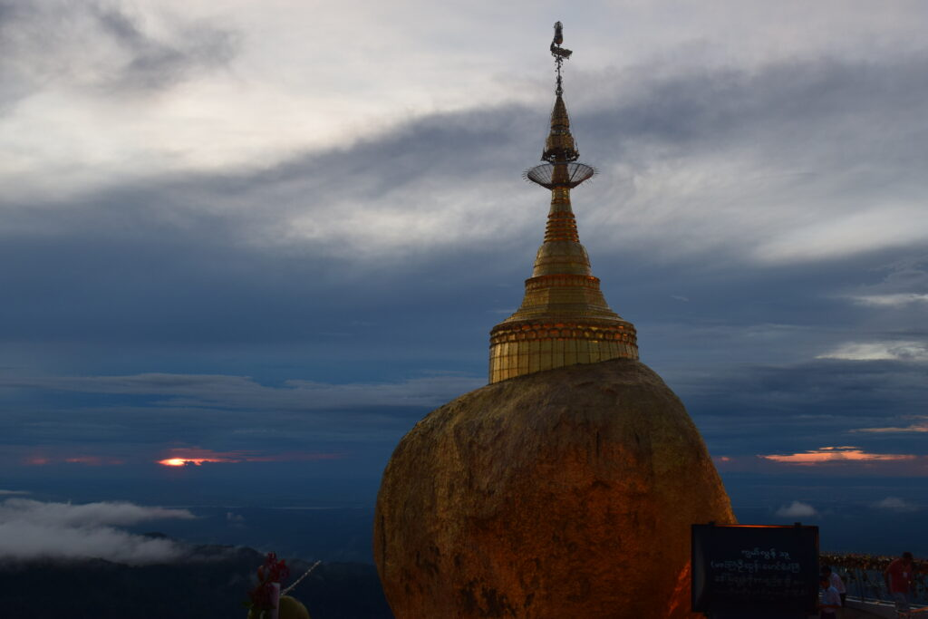 Golden Rock and Kyayktiyo pagoda at sunset