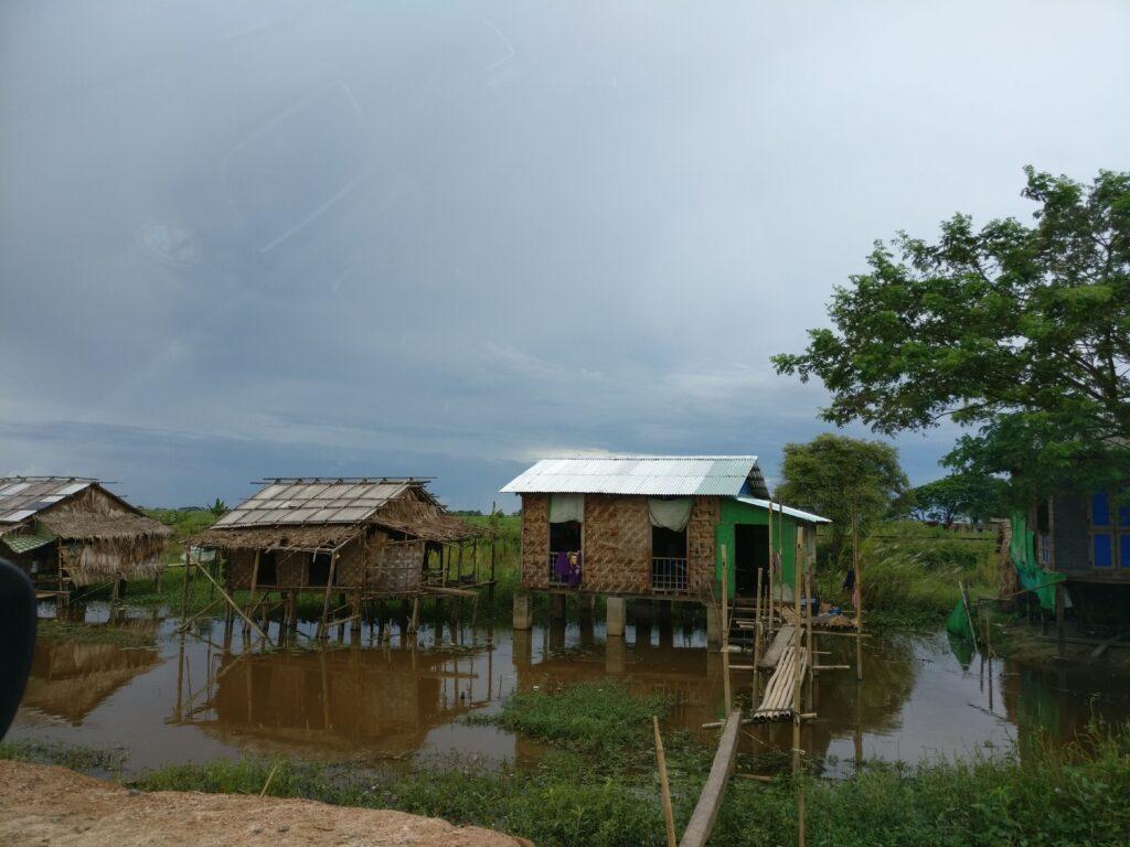 Houses built on stilts in Myanmar