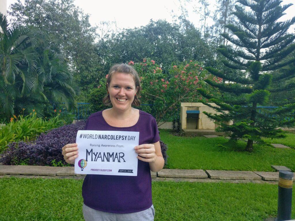 me holding #worldnarcolepsy Myanmar sign