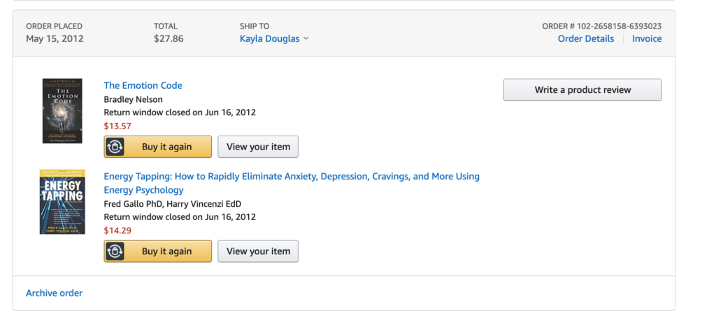 amazon purchase of The Emotion Code by Bradley Nelson and Energy Tapping by Red Gallo PhD